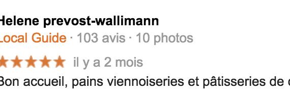 Boulangerie Aux Petites Mains avis GOOGLE Helene prevost-wallimann
