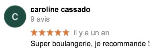 Boulangerie Aux Petites Mains avis GOOGLE Caroline Cassado