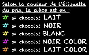 Boulangerie Aux Petites Mains Code couleur des chocolats de Pâques 2019