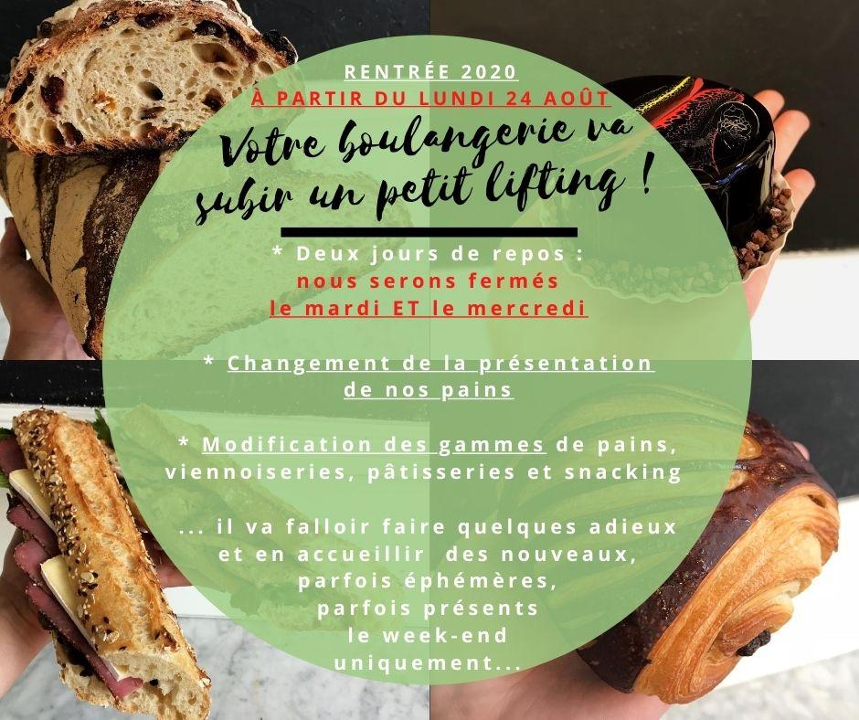 Boulangerie Aux Petites Mains Changements rentrée 2020