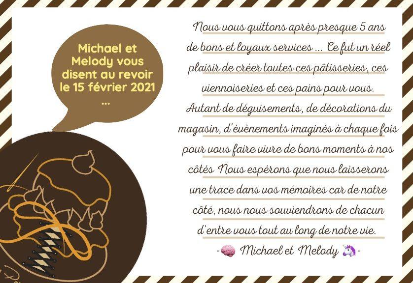 Boulangerie Aux Petites Mains lettre d'adieu de Michael et Melody